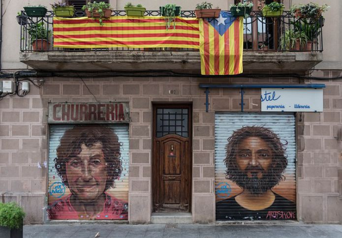 Barcelona, flag of Catalonia, Graffiti, Balcony, House