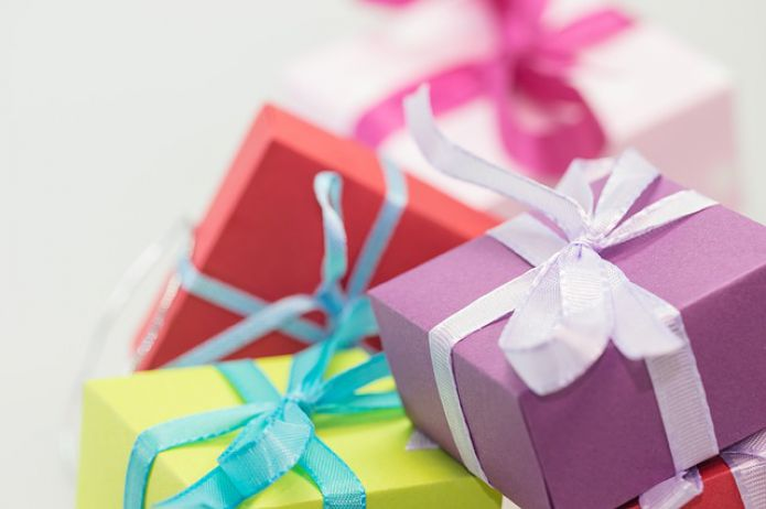 tied colored gift boxes