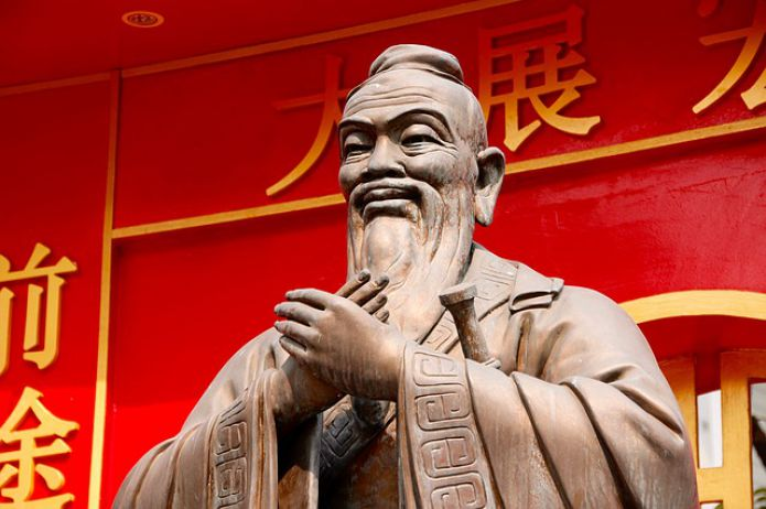 Confucius Statue China Sculpture Stone Figure